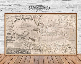Caribbean map etsy antique map of west indies florida mexico caribbean islands 1732 huge map antique decor fine reproduction vintage fine art print gumiabroncs Images
