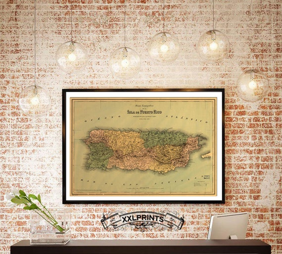 Antique Map Of Puerto Rico 1886 Fine Reproduction Oversize Etsy
