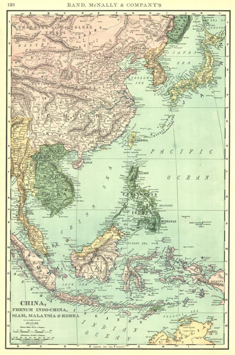 Map Of Asia In French.Antique Map Of Asia 1898 Map Of China French Indo China Etsy