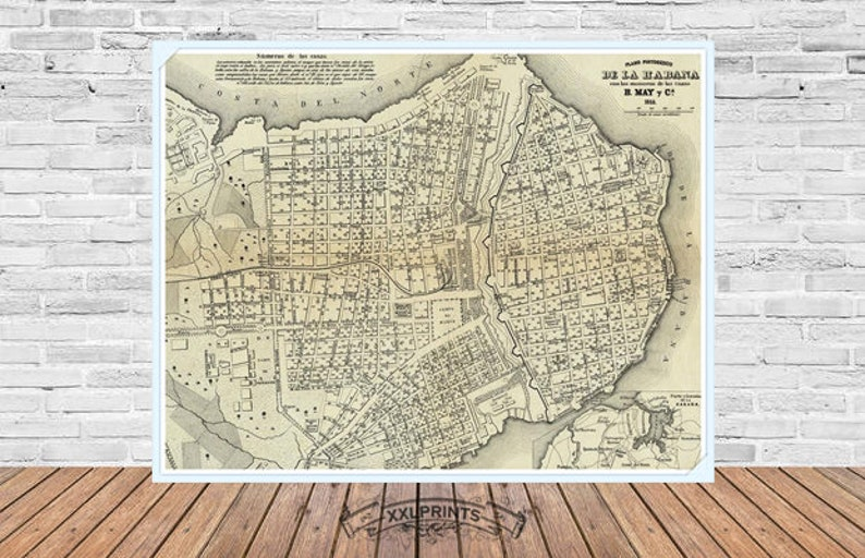 image about Printable Map of Havana identify Antique map of Havana, Cuba, 1853, aged map, fantastic replica, antique decor, high-quality artwork print