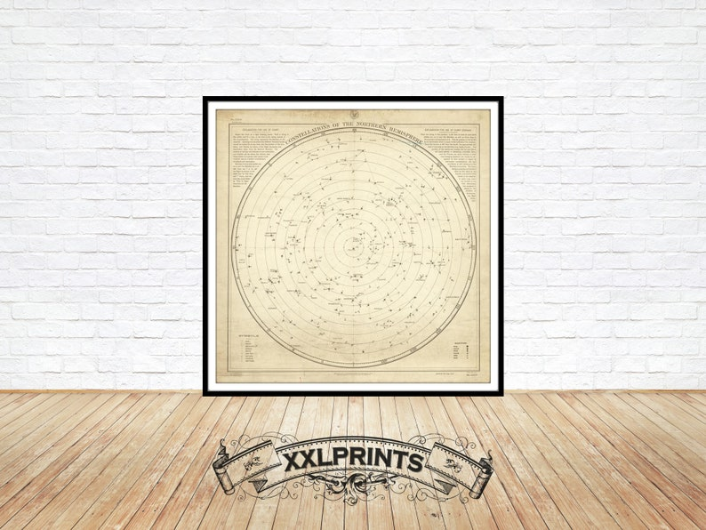 fine reproduction fine art print large map 1908 Constellations of the Northern Hemisphere oversize map print