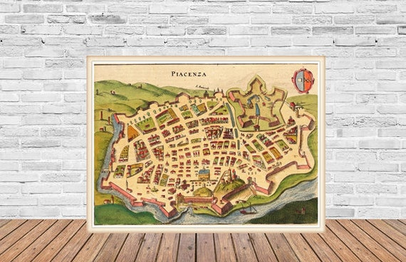Antique Map Of Piacenza Italy 15th Century Map Fine Etsy