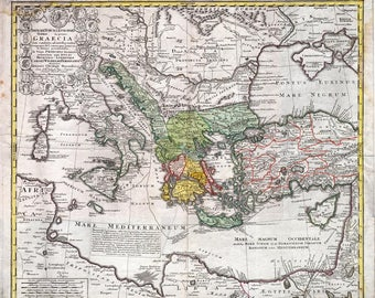 Antique map of Greek Empire, 1741, old map,art deco, vintage decor, fine art print