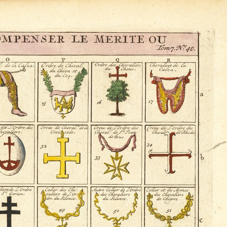 fine reproduction antique decor rare antique large fine art print oversize print Medallions and Military Orders of Europe 1720