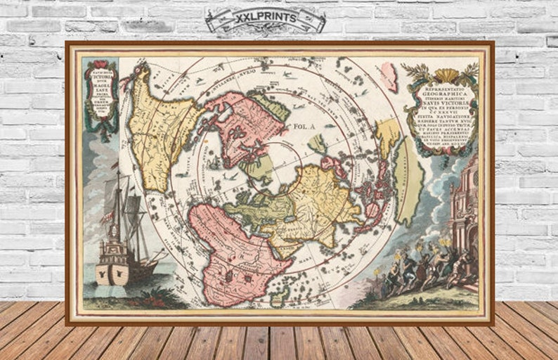 Antique map of the World 1700 17th century old map huge | Etsy