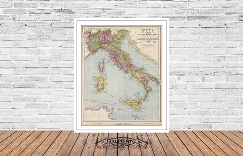 Large Map Of Italy With Regions.Old Map Of The Wine Regions Italy 1889 Rare Map Fine Reproduction Large Map Fine Art Print Antique Decor Oversize Map Print