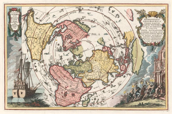 Antique map of the World, 1700, 17th century old map, huge map, vintage  decor,fine art print