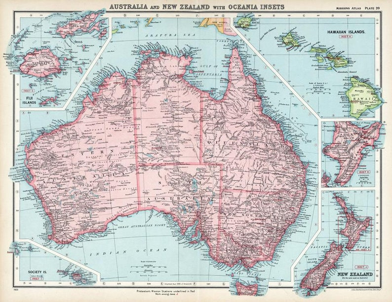 Map Of Australia New Zealand And Fiji.Antique Map Of Australia Hawaii New Zealand And Fiji 1925 Old Map Fine Art Print Printed On Photo Paper 23 X30 58 Cm X75 Cm