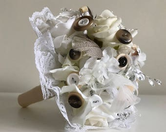 Natural Button Bouquet Handmade Bridal Bouquet white roses and Neutral Brown Beige Wedding Flowers Bridesmaid artificial