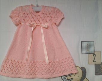 Knitted pink baby girl dress
