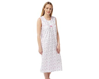 Ladies 'Suzy & Me' Sleeveless 100% Cotton Jersey Butterfly Print Nightdress. Pink or Aqua. Sizes 8/10-24/26