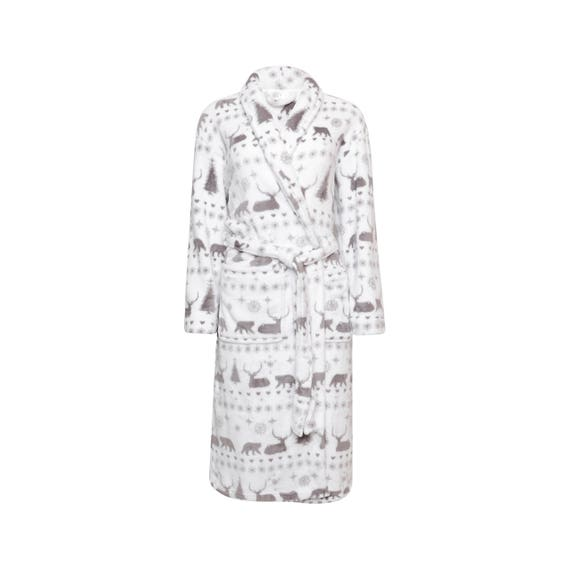White//Grey.... Ladies Christmas Woodland Stag Print Soft Fleece Dressing Gown
