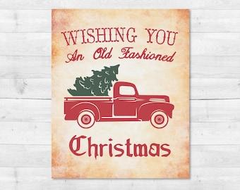 Vintage Christmas Tree Truck SVG, Red Christmas Tree Truck, Christmas Truck SVG, Sign, Vector, DXF, Print, Joanna Gaines, Magnolia Farms