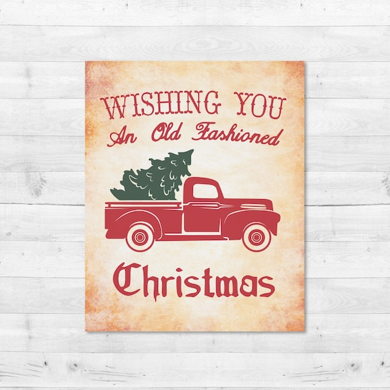 Old Truck With Christmas Tree.Vintage Christmas Tree Truck Svg Red Christmas Tree Truck Christmas Truck Svg Sign Vector Dxf Print Joanna Gaines Magnolia Farms