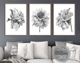 Flower wall art etsy printable wall art set of 3 watercolor flowers print set black and white flower wall art bedroom wall decor living room decor boho dahlia mightylinksfo