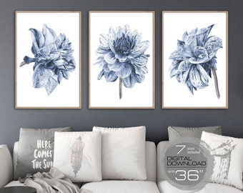 Printable Wall Art Blue Flowers Print Large Wall Art Prints Wall Art  Downloadable Prints Dahlia Wall Decor Bedroom Wall Decor Living Room F
