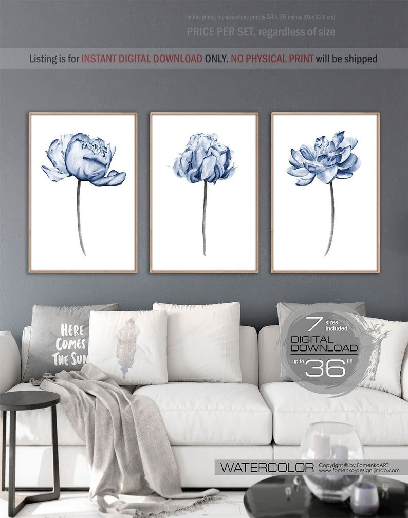 Printable wall art dorm decor wall decor bedroom wall decor living room decor 3 downloadable prints wall art watercolor flowers peony print
