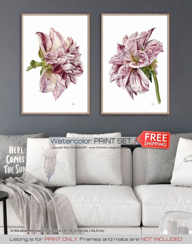 Watercolor Flowers Wall Art Pink Dahlia Wall Decor Bedroom Etsy