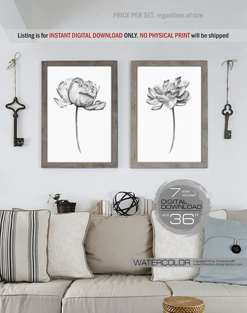 Printable wall art farmhouse decor 2 black and white photography prints wall art flower painting flower art bedroom wall decor peony print