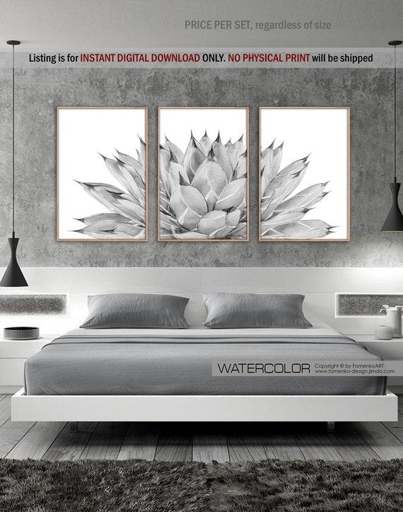 Bathroom wall decor Bedroom Black and white Prints Wall art Cactus decor  Cactus Wall art set Modern farmhouse decor Succulent wall art