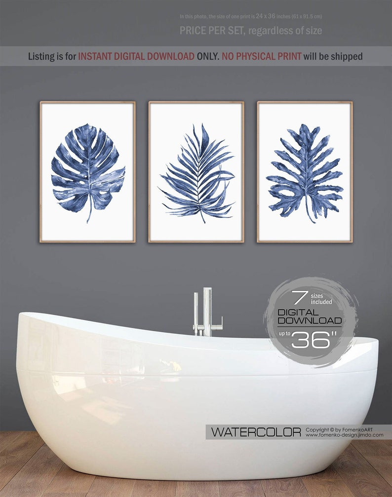 graphic regarding Etsy Printable Wall Art named Lavatory wall artwork Palm leaf Downloadable prints Wall decor Bed room Wall decor residing house decor Armed forces blue Monstera print Banana leaf print