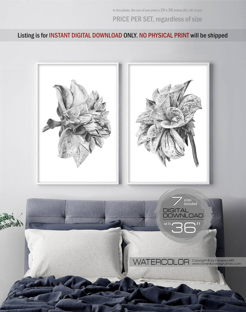 Printable wall art flower art bohemian decor black and white wall art prints wall decor bedroom wall decor living room decor 2 floral print