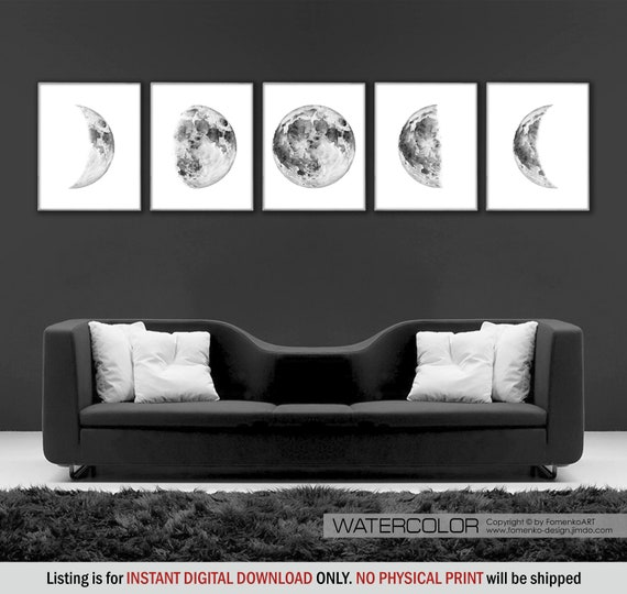 Moon phase wall hanging Bedroom Wall decor bedroom Black and white wall art  prints Moon phases print Moon decor Space decor Moon print