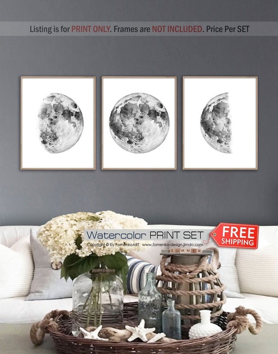 Moon Phases Print Set Moon Decor Black And White Wall Art Etsy
