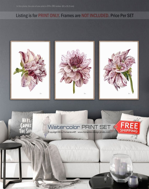 Watercolor Painting Large Wall Art Prints Wall Art Flower Etsy