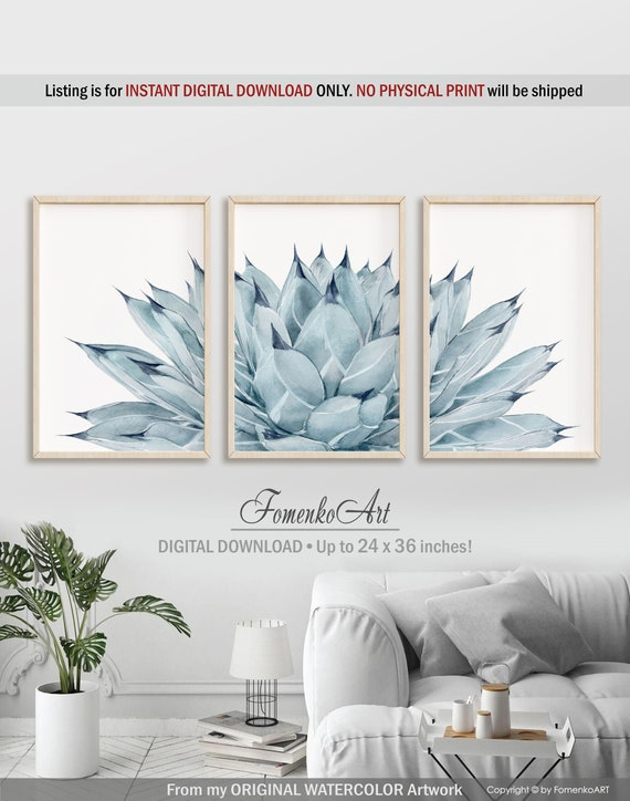 Watercolor cactus wall art Prints wall art Kitchen wall decor Bedroom wall  decor Living room wall art Dining room, Cactus decor Cactus print