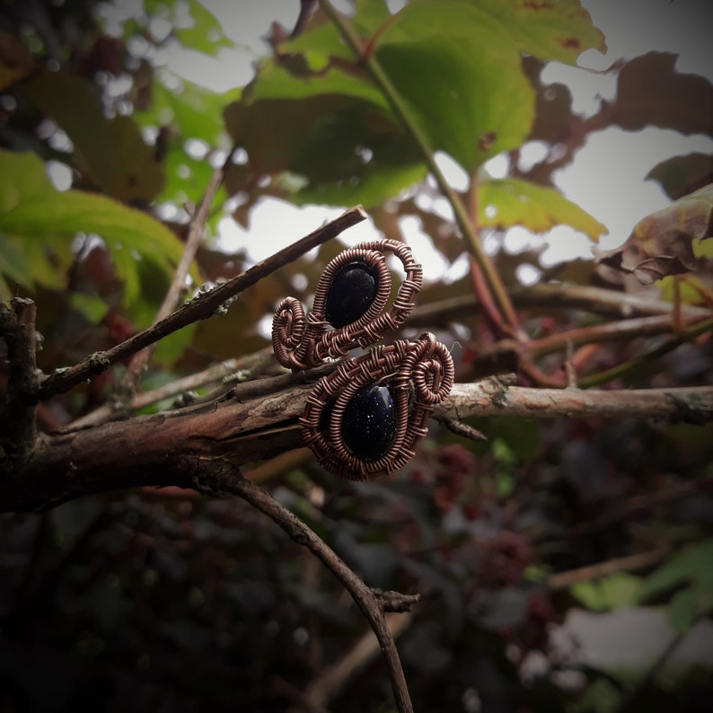 adjustible boho ring.statement ring,blue goldstone ring,copper wire wrapped ring
