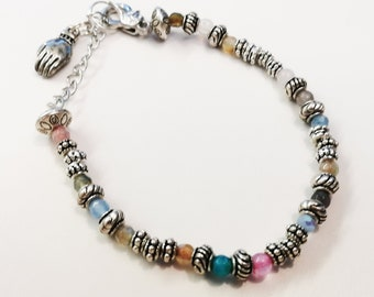 Multicolor Gemstone Bracelet with Tibetan Silver Accent Beads