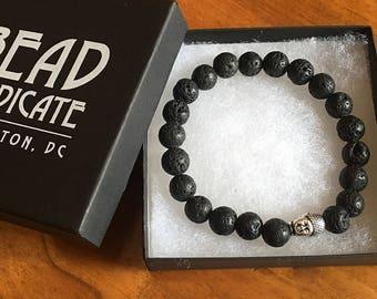 Black Lava Stone Stackable Bracelet with Tibetan Silver Buddha Bead