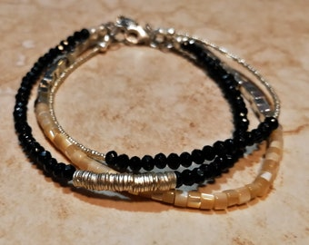 Black Spinel, Mother of Pearl and Silver Triple Strand Bracelet with Sterling Silver Lobster Clasp
