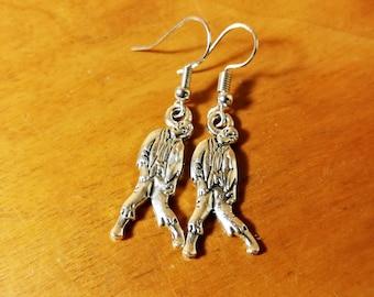 Silver Zombie Earrings