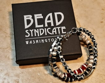 African Striped Red, Black and White Agate and African Silver Triple-Strand Beaded Bracelet