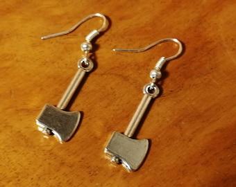Silver Hatchet Earrings