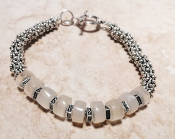 Opal and Silver Bracelet, Opal Beaded Bracelet, October Birthstone Bracelet