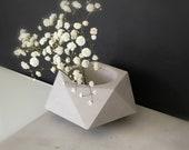 Gray geometric concrete succulent planter