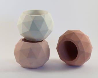 unique icosahedron concrete planter bowl for cactus, cement succulent terrarium, wedding or housewarming present