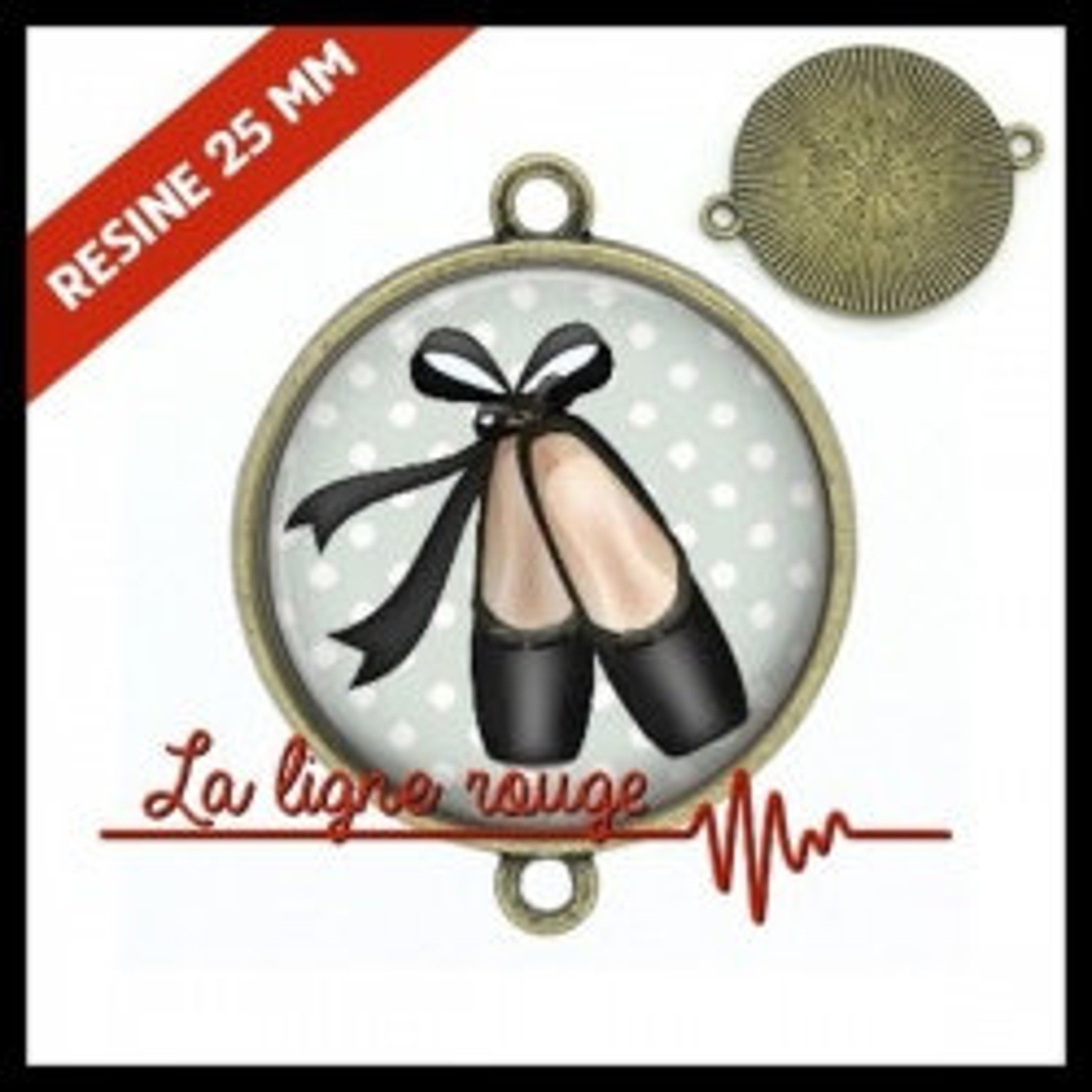 to choose from-with or without support cabochon, resin or glass, silver or bronze - ballet shoes (9297) - gift birthday christma