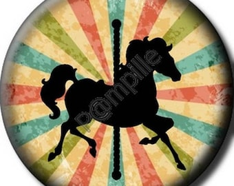 Cabochon resin 25 mm - circus horse - (678) stick
