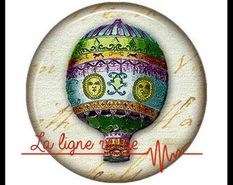 Hot air balloon (3390) - airship, balloon, Vintage - Cabochon with or without stand depending on your choice