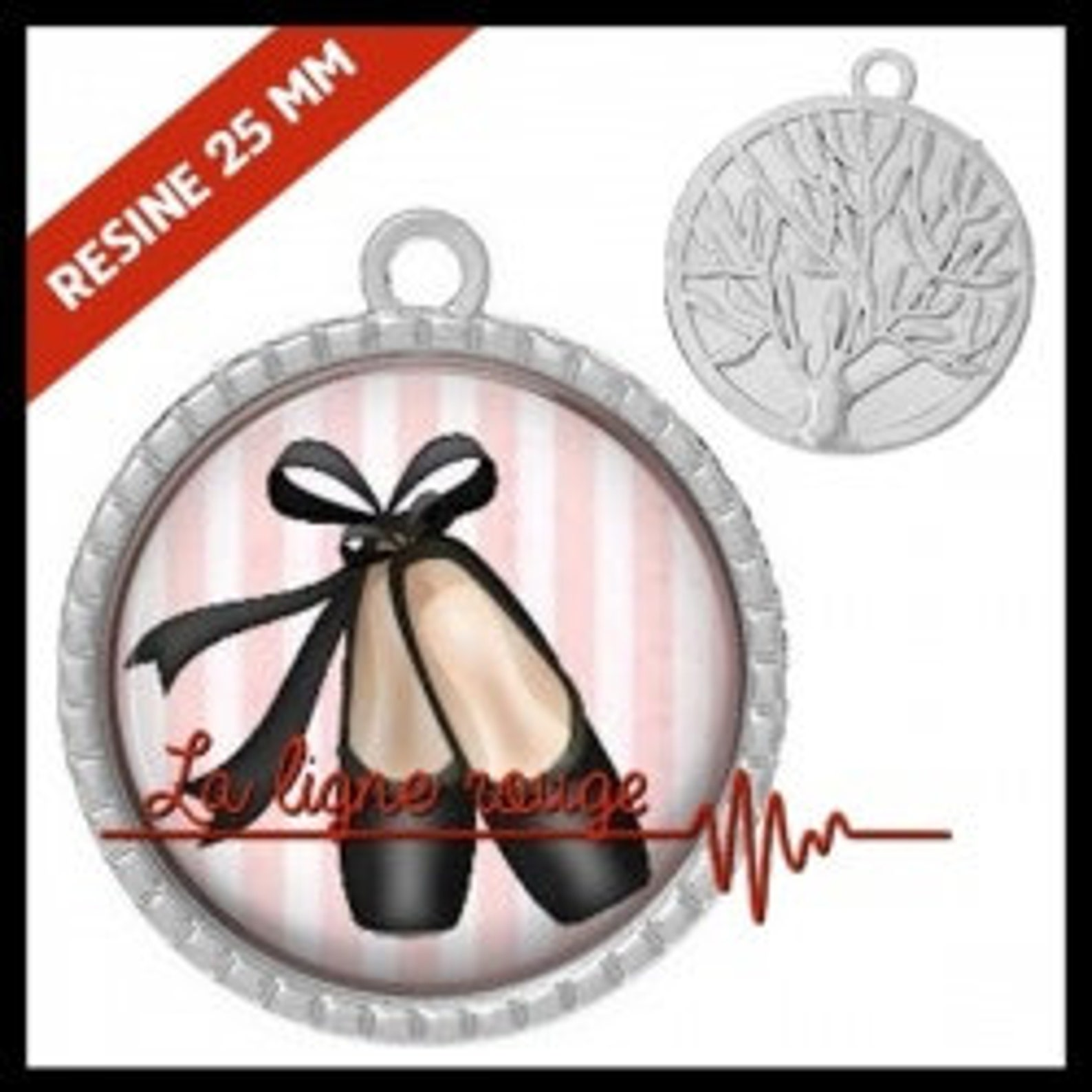 to choose from-with or without support cabochon, resin or glass, silver or bronze - ballet shoes (9300) - gift birthday christma