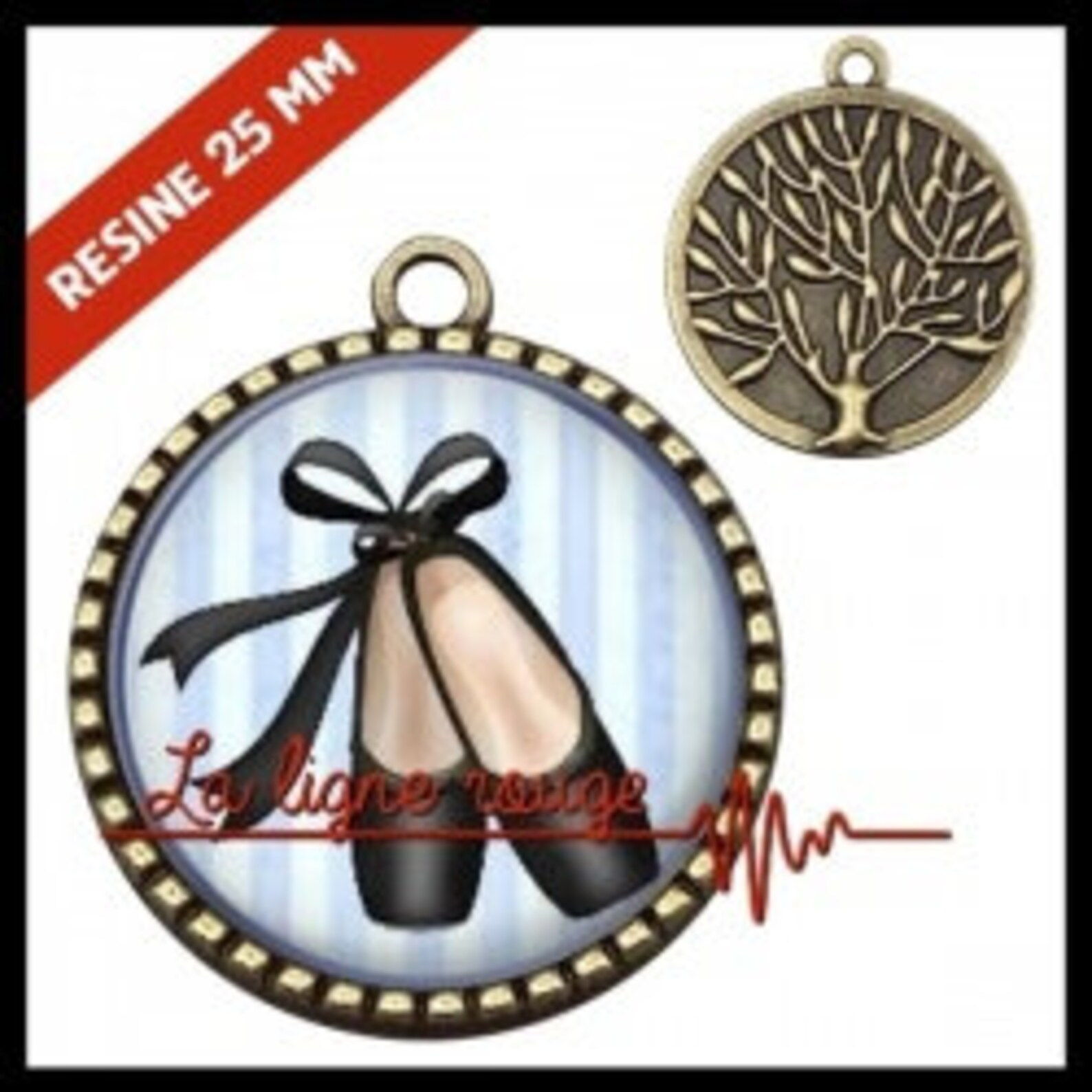 to choose from-with or without support cabochon, resin or glass, silver or bronze - ballet shoes (9301) - gift birthday christma