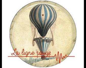 Hot air balloon (3373) - airship, balloon, Vintage - Cabochon with or without stand depending on your choice