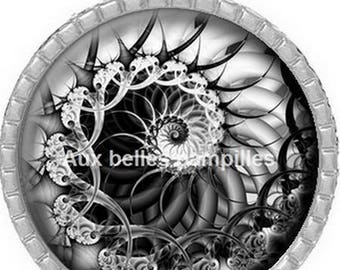 Round Cabochon 25 mm epoxy resin - metal art Pendant (1300)