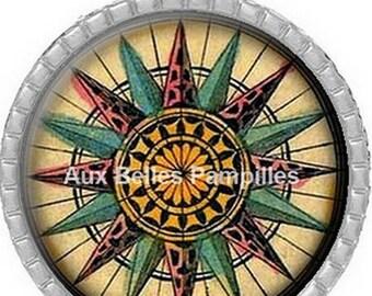 Round Cabochon pendant-25 mm epoxy - compass rose (1157)
