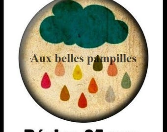 Round stick cabochon resin 25 mm - in the rain (1510) - cloud, sky, vintage