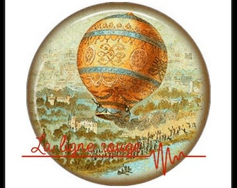 Hot air balloon (3380) - airship, balloon, Vintage - Cabochon with or without stand depending on your choice